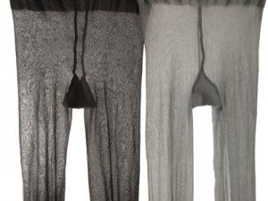 Zwei graue Strumpfhosen mit Zwickel