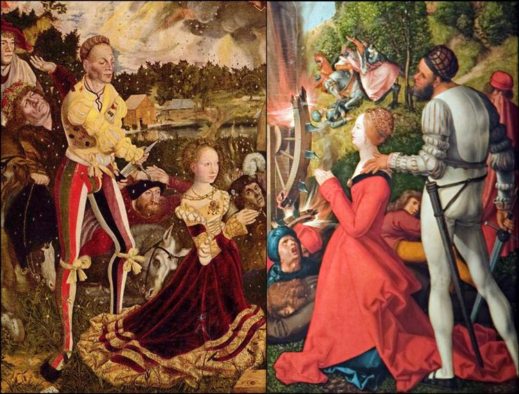 Männer in Strumpfhosen auf Gemälden von Cranach und Dürer