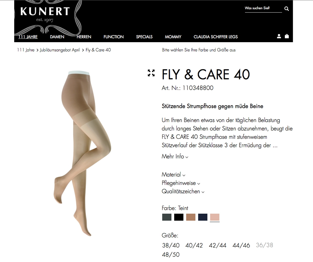 Screenshot Kunert Fly & Care 40 Strumpfhose