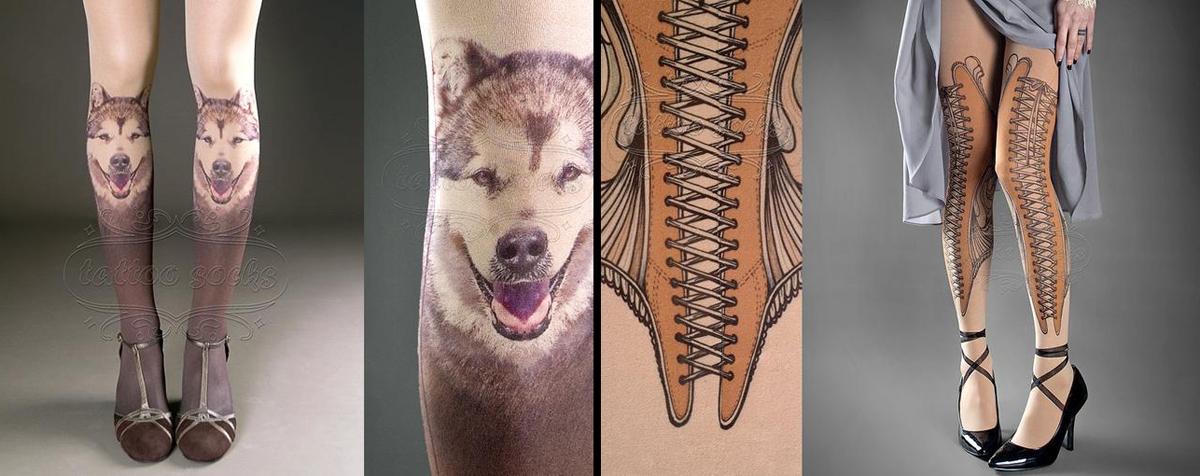 Zwei Tattoo Socks Strumpfhosen