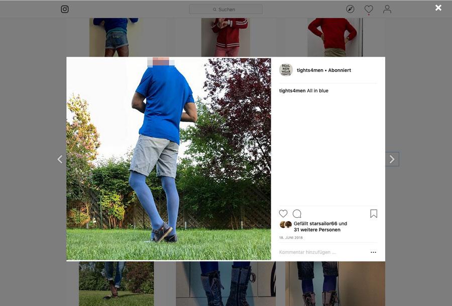 Screenshot Mann in blauer Strumpfhose und Shorts