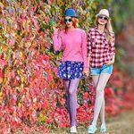 Wie frau im Herbst farbige Strumpfhosen trägt