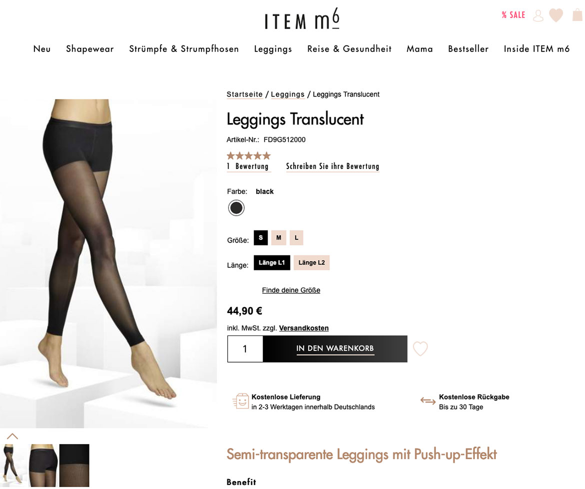 Screenshot Shape Leggings bei item m6