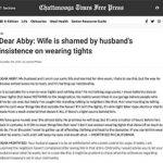 Mann in transparenten Strumpfhosen ärgert Ehefrau