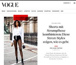 Screenshot Vogue Shorts und Feinstrumpfhosen