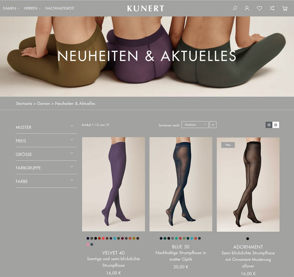 Screenshot Kunert Onlineshop